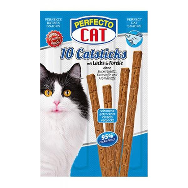 Perfecto Cat 10 Katzensticks Lachs + Forelle 10er Pack = 100 Sticks