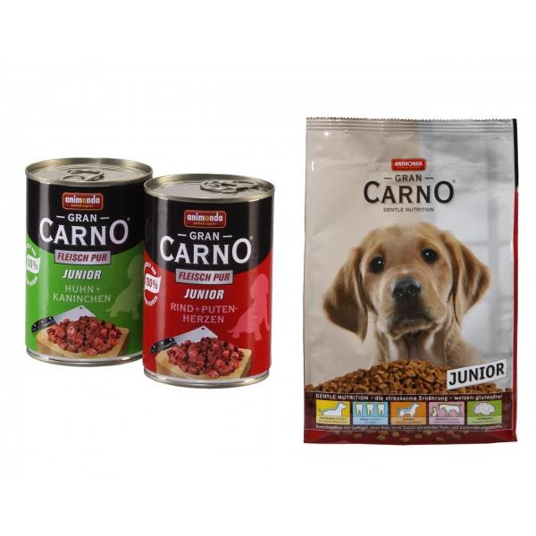 Animonda Hund GranCarno Junior Mix 12 x 400g Pack + 1 kg Trockenfutter