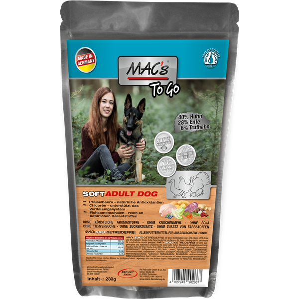MAC''s Dog SOFT to go Huhn,Ente,Truthahn Grainfree 230 g